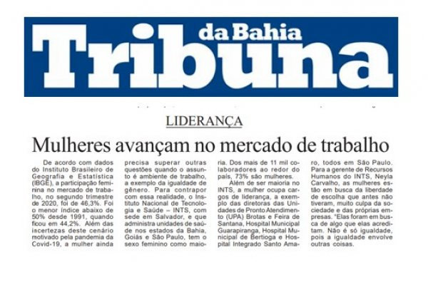 INTS é destaque no Jornal Tribuna da Bahia